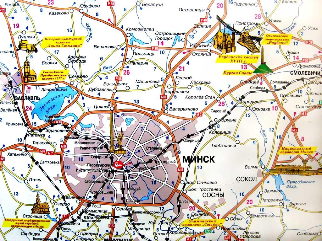 Заславль на карте Беларуси